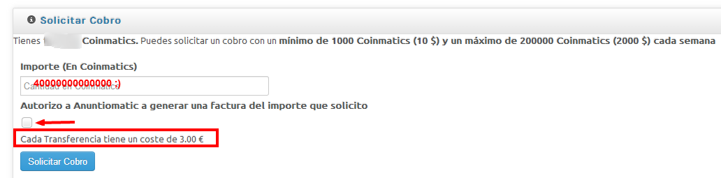 solicitar pago Anuntiomatic